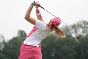 golf swing at finish lady
